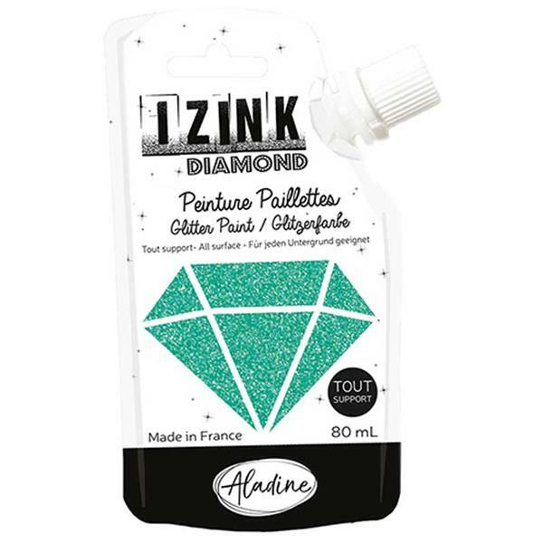 IZINK Diamond glitterverf - 80 ml, turkoois