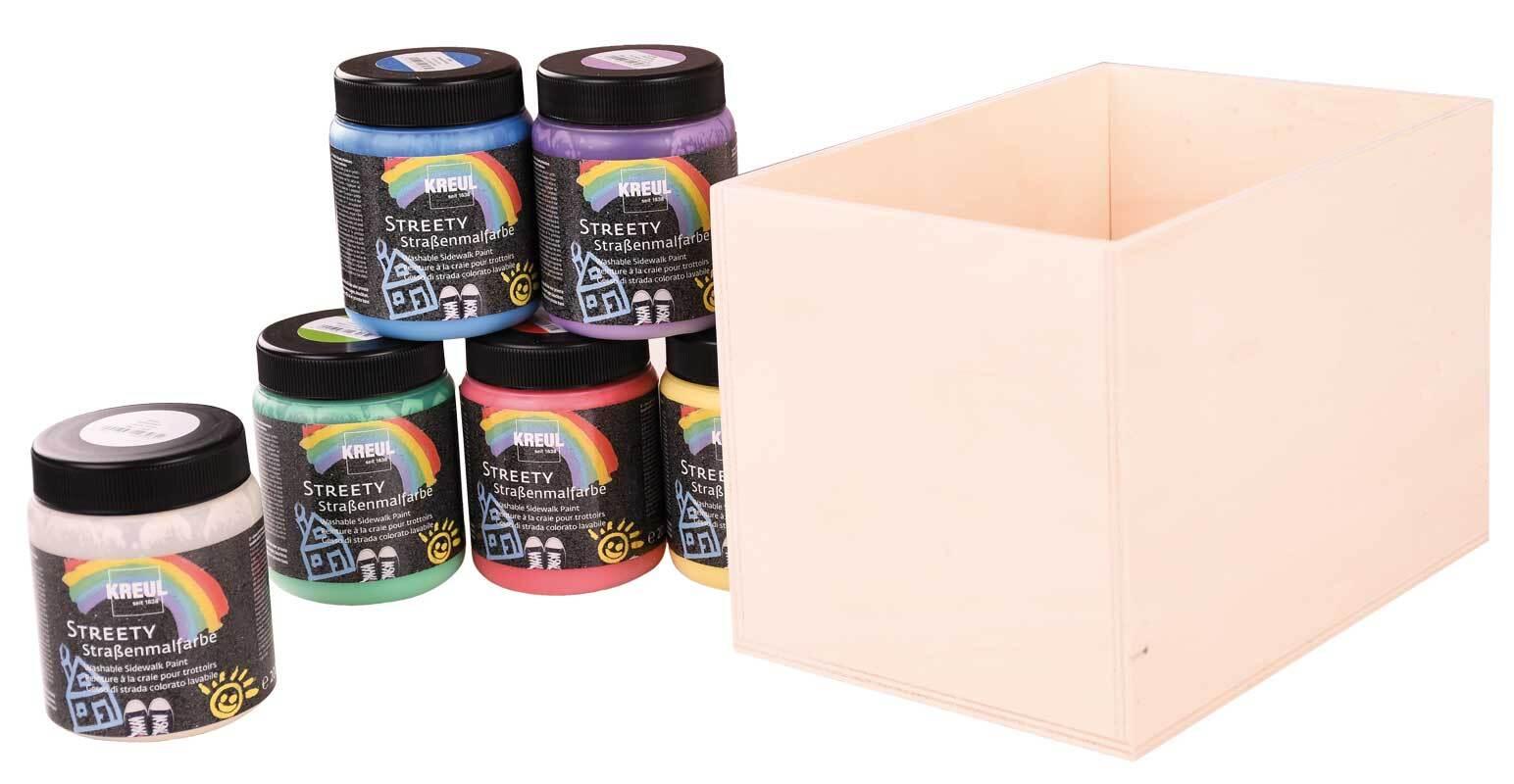 Aduis Sparpaket - 6 Straßenmalfarben mit Holzbox