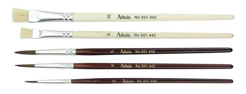 Schulpinselset - 5 Stk., Borsten- und Haarpinsel