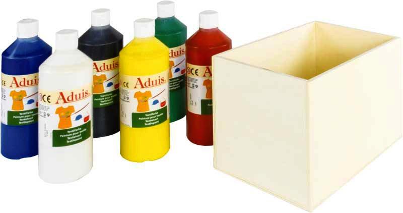 Aduis Sparpaket - 6 Stoffmalfarben mit Holzbox