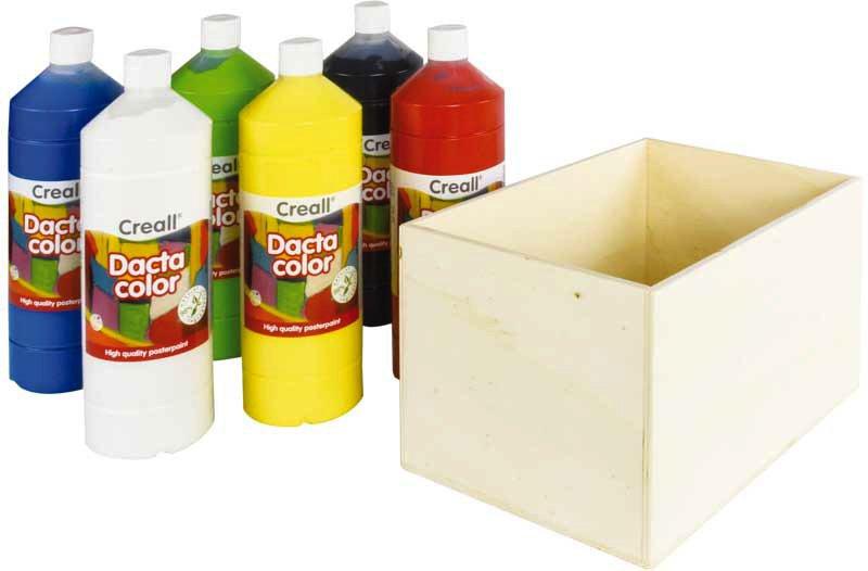 Aduis Sparpaket - 6 Plakatfarben mit Holzbox