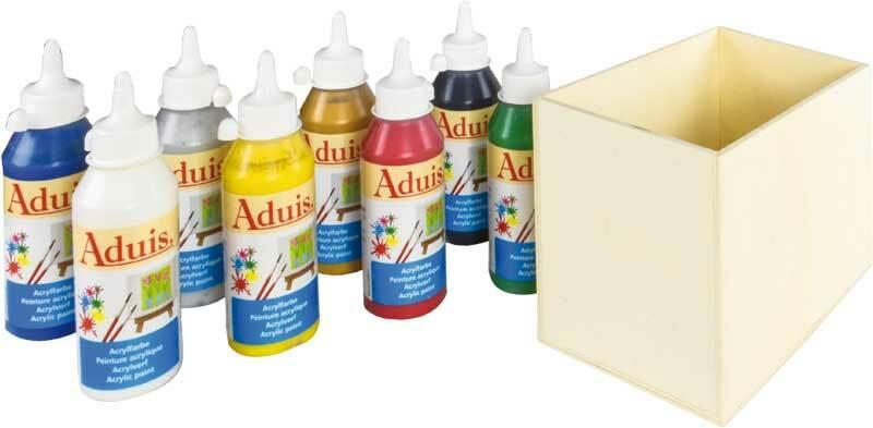 Aduis Sparpaket - 8 Acrylfarben mit Holzbox