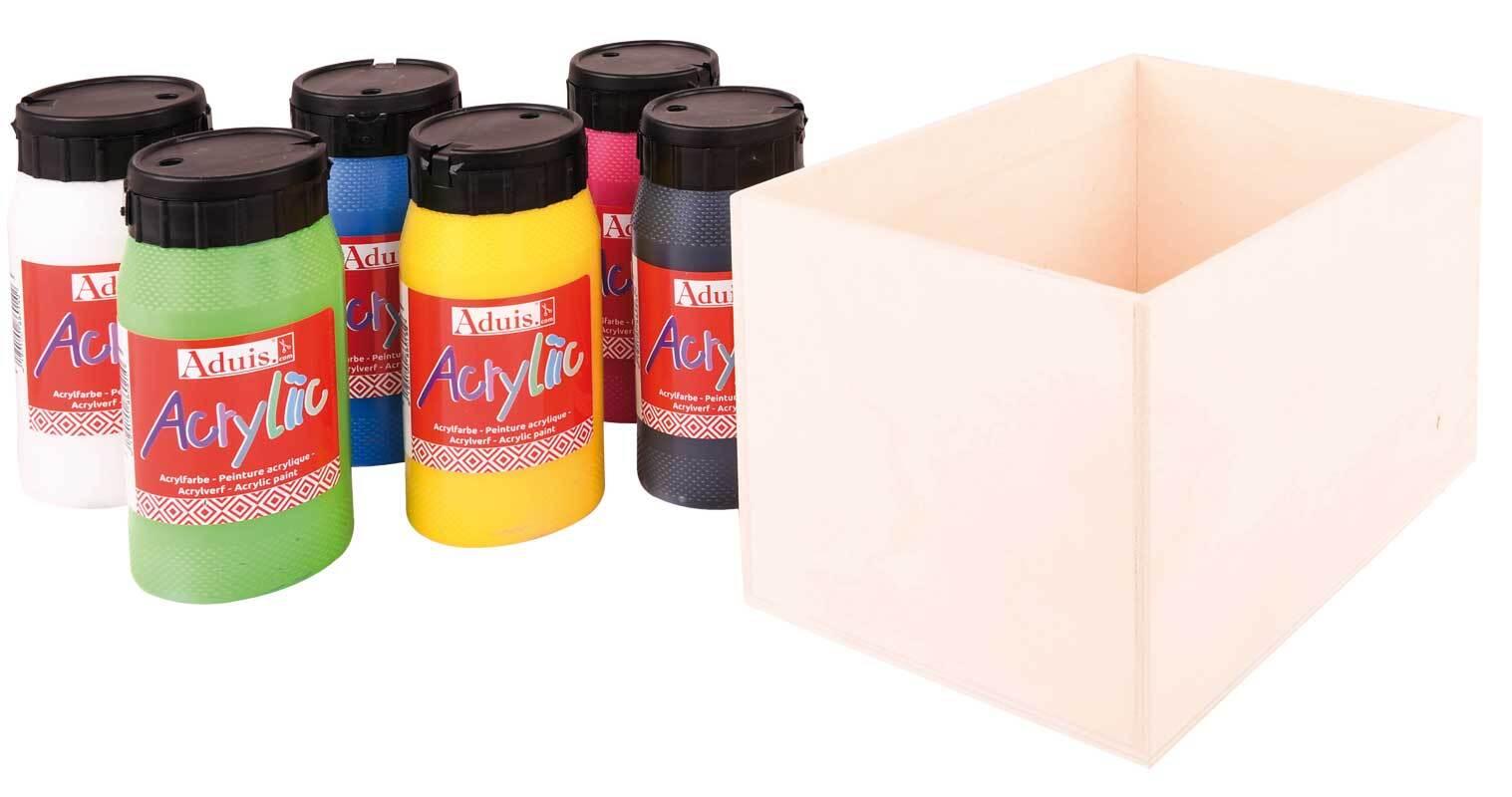 Aduis voordeelpakket - 6 st. acrylverf met houten
