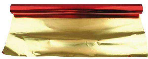 Papier métallisé - largeur 50 cm, 10 m, rouge-or