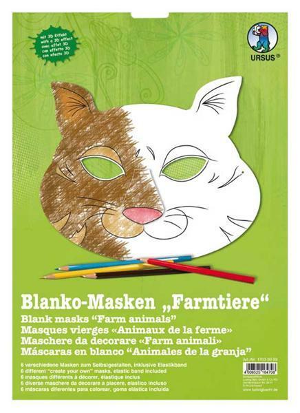 Masken - 6 Stk., Farmtiere