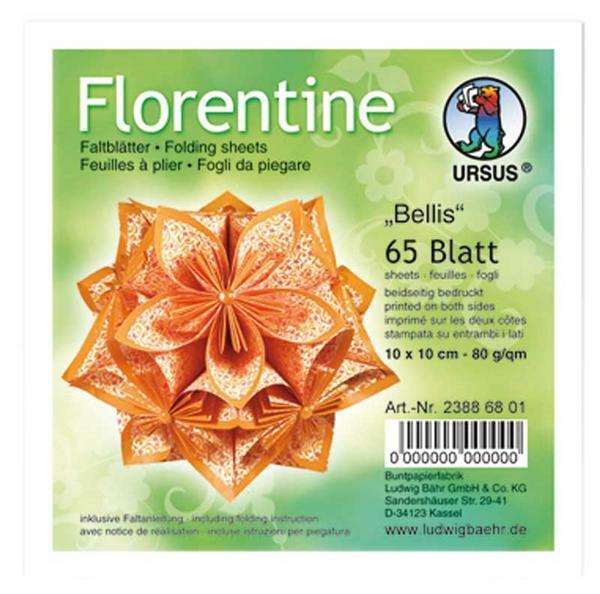 Papier à plier Florentine Bellis - 10x10cm, orange