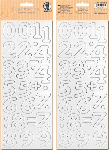 Blanko Karton Zahlen - ca. 4 cm