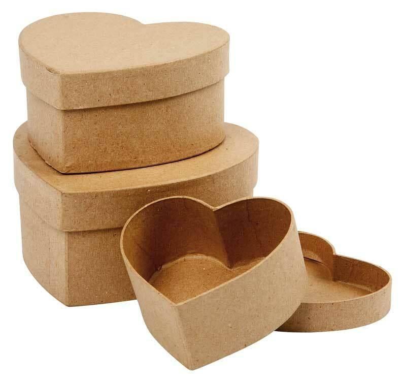 Boîtes en papier mâché, forme cœur