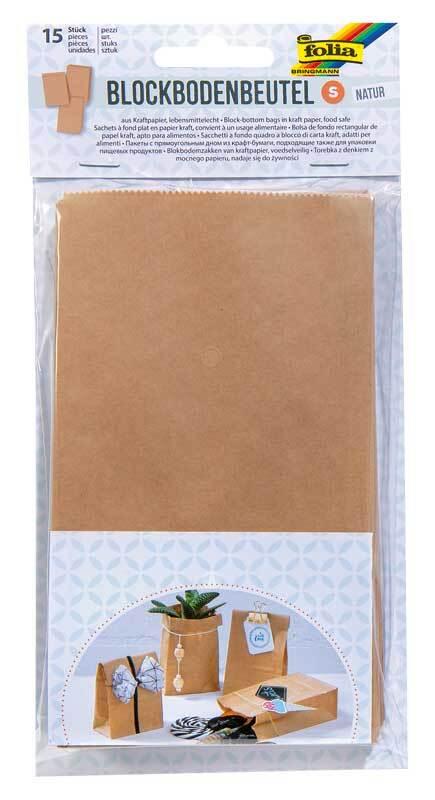Sachets papier avec fond - 15 pces, naturel