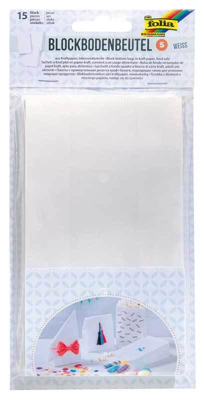 Sachets papier avec fond - 15 pces, blanc