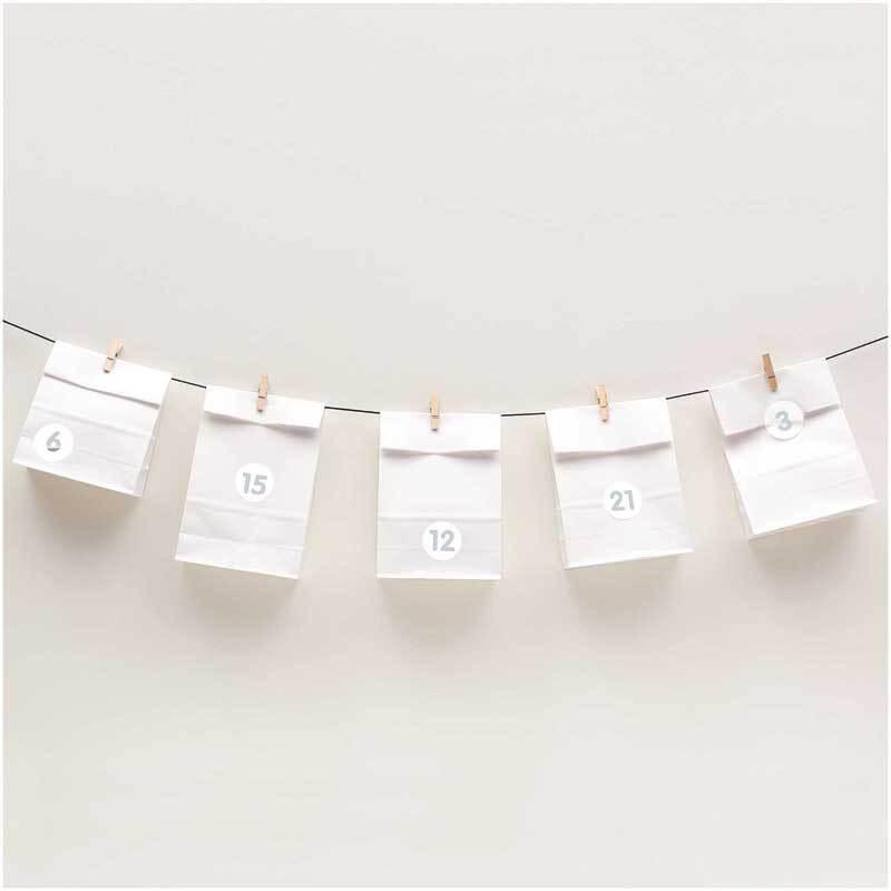 Adventskalender Tüten Set - weiß