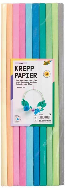 Krepppapier - 10 Farben, pastell