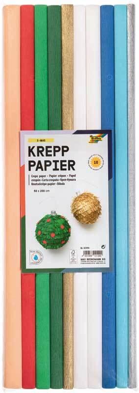 Krepppapier - 9 Farben, x-mas