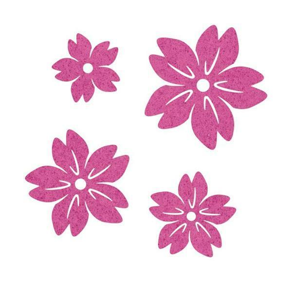 Filz Dekoteile - Blüten, pink