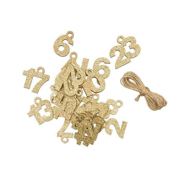 Eléments déco en bois - Chiffres 1-24, or-paillett
