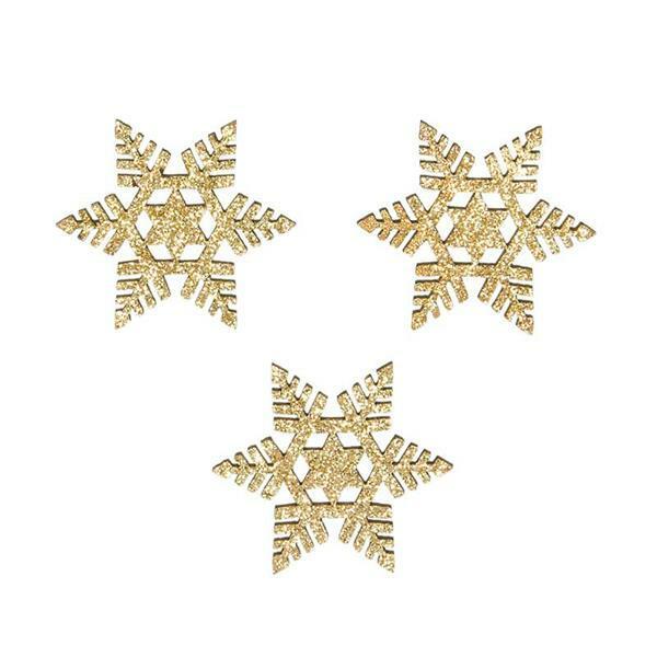 Eléments déco en bois - Flocons de neige, or-paill