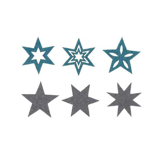 Eléments déco feutrine - Etoiles, bleu