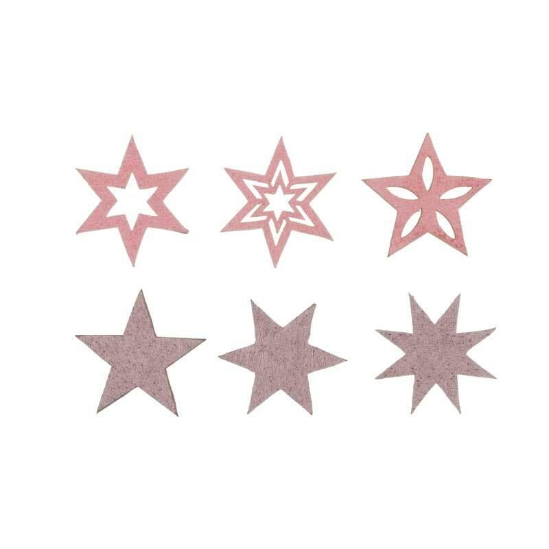 Eléments déco feutrine - Etoiles, rose