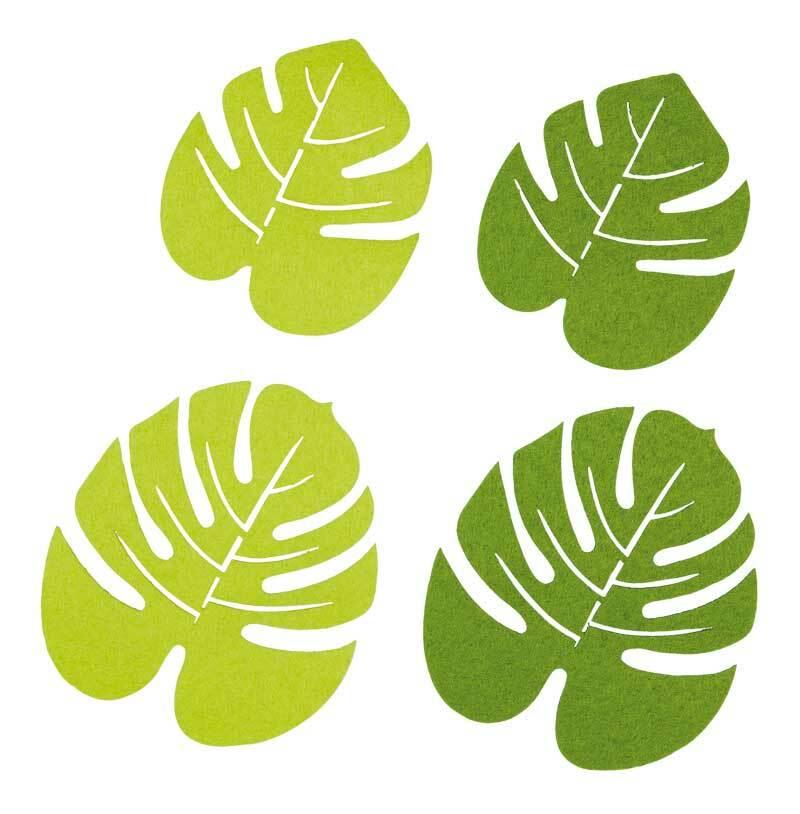 _Filz Dekoteile - Monstera Blätter, grünmix
