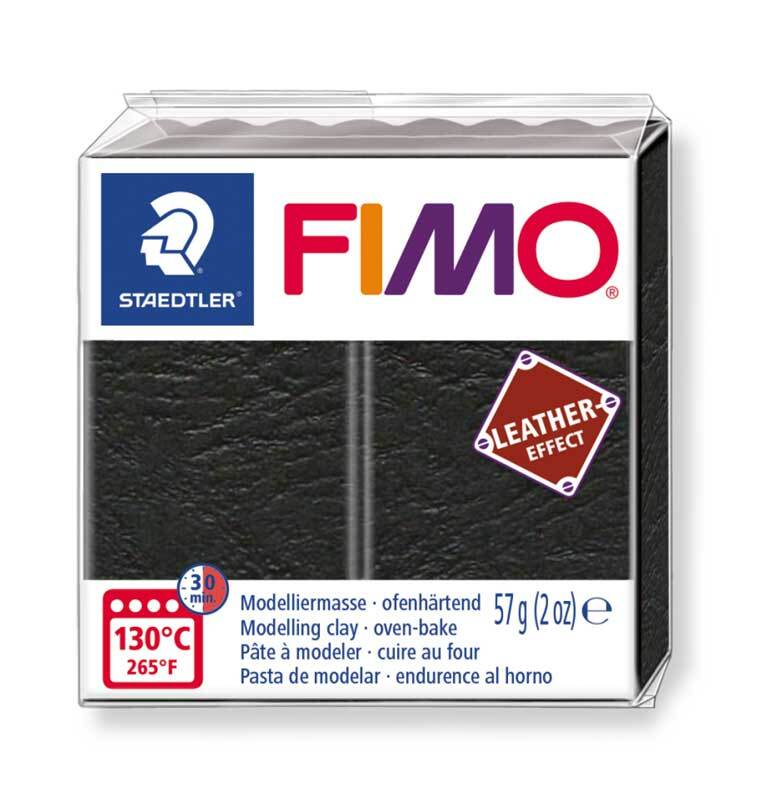 Fimo Leather effect - 57 g, zwart
