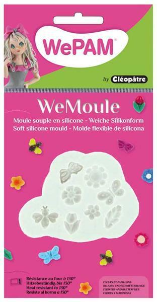 WeMoule Silikonform, Blumen und Schmetterlinge