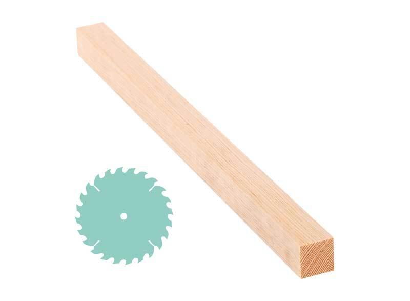 Grenen lat - zaagservice, 3 x 3 cm
