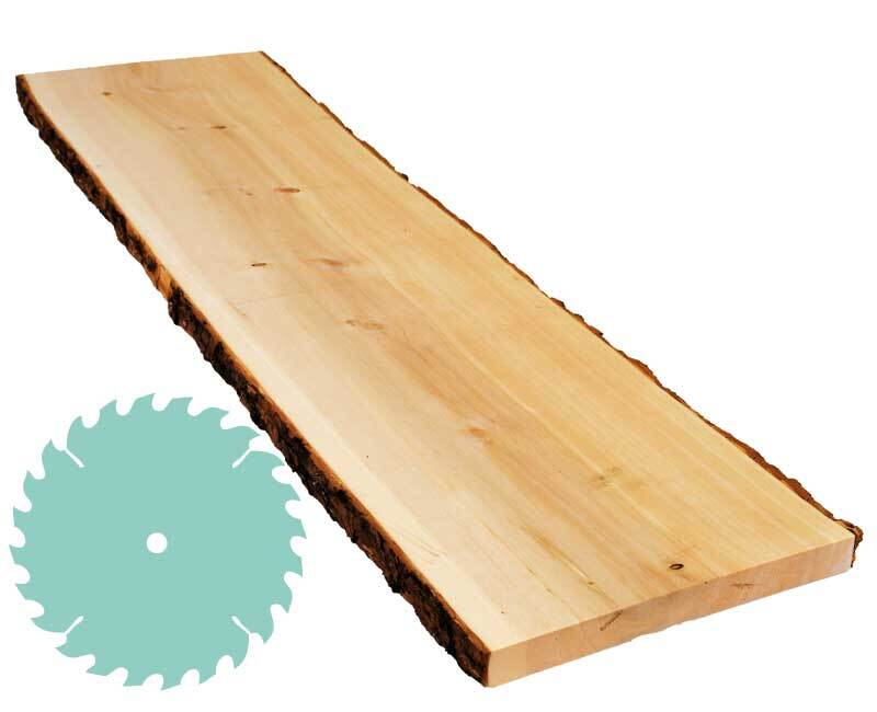 Zirbenbrett -Zuschnitt - 2,4 x 20-25 cm, Rinde