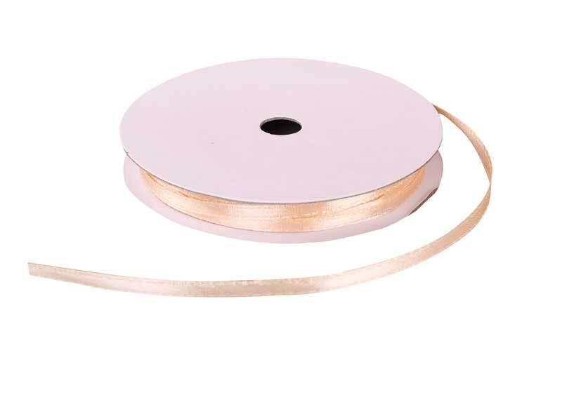 Rubans satin avec lisière - 3 mm, beige