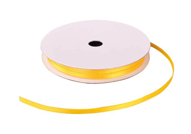 Rubans satin avec lisière - 3 mm, jaune