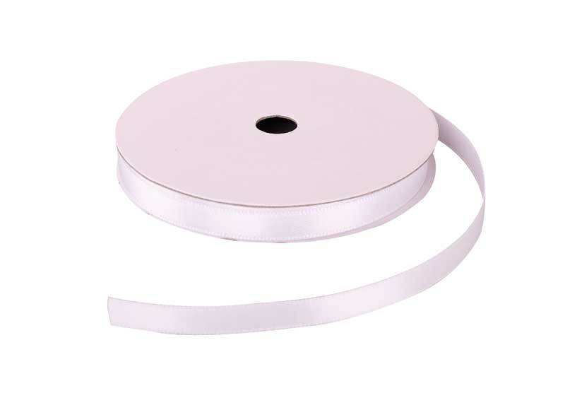 Satijnlint met zelfkant - 6 mm, wit