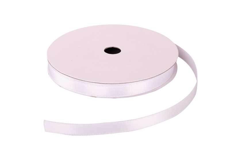 Rubans satin avec lisière - 6 mm, blanc