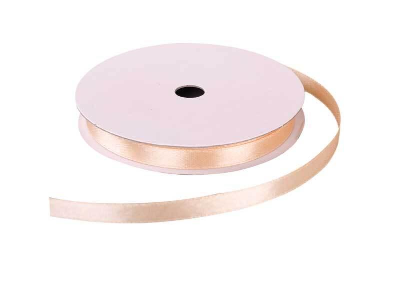 Satinband mit Webkante - 6 mm, beige
