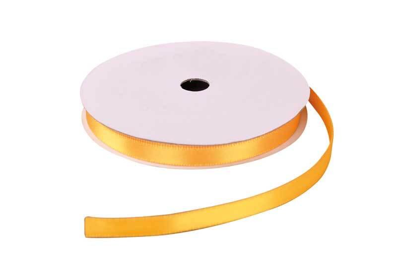 Satijnlint met zelfkant - 6 mm, geel