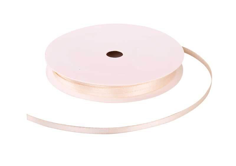 Satinband mit Webkante - 3 mm, ivory