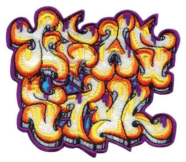 Applikation - Graffiti gelb-orange, ca. 10 x 8,2
