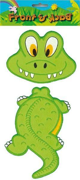 Applikation - hinten - vorne, Krokodil, ca. 11 x
