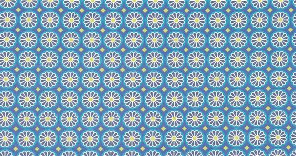 Tissu coton - à motifs, Fleurs bleu/vert