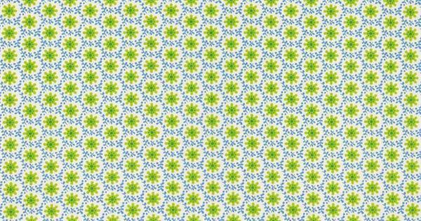 Baumwollstoff - gemustert, Blumen grün/blau