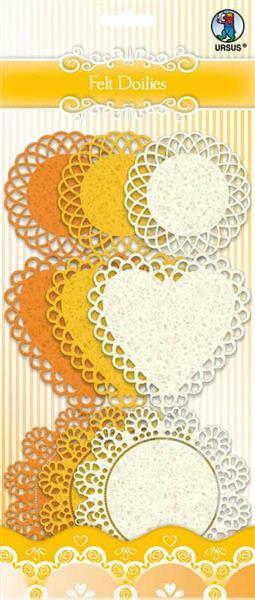 Vilt Doilies - oranje/crème