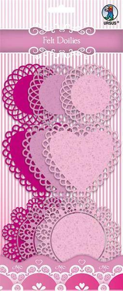 Vilt Doilies - zuurstokroze/roze