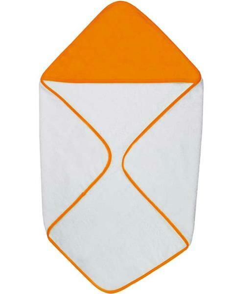 Baby Handtuch - ca. 75 x 75 cm, weiß/orange