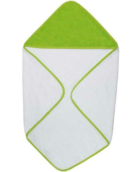 Baby Handtuch - ca. 75 x 75 cm, weiß/limonengrün