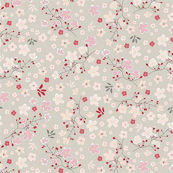 Katoenen stof - bedrukt, bloemenrank