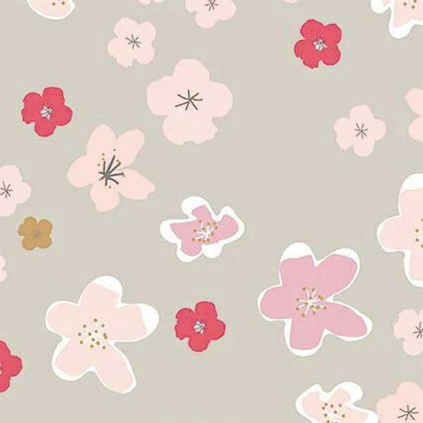 Katoenen stof - bedrukt, grote bloemen