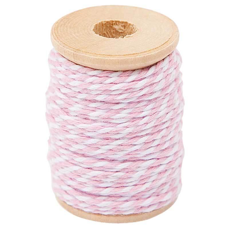 Baumwollgarn - 15 m, rosa-weiß