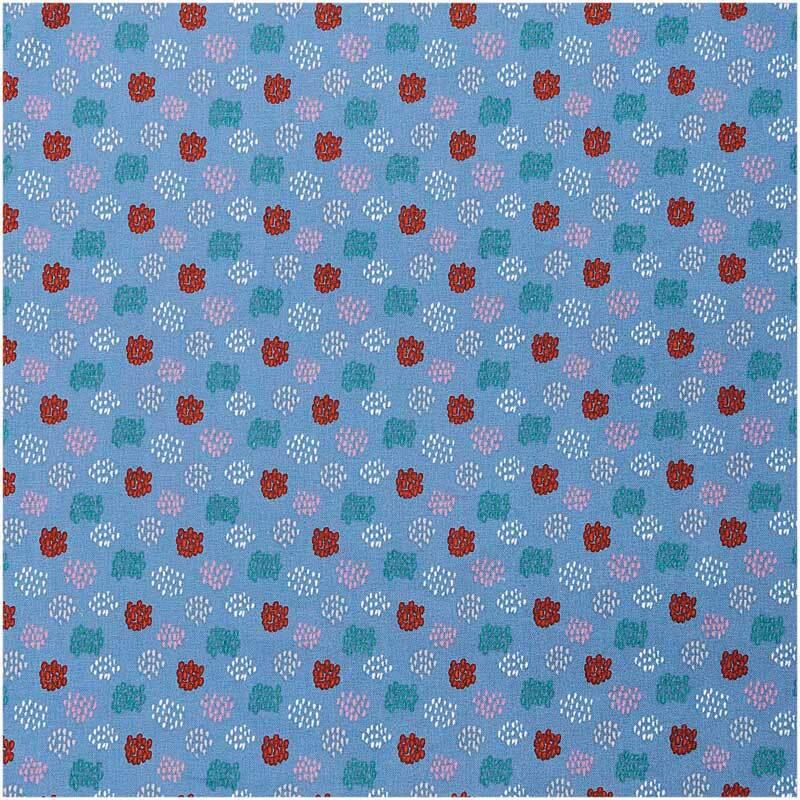 Baumwollstoff - bedruckt, blau/grafisches Muster