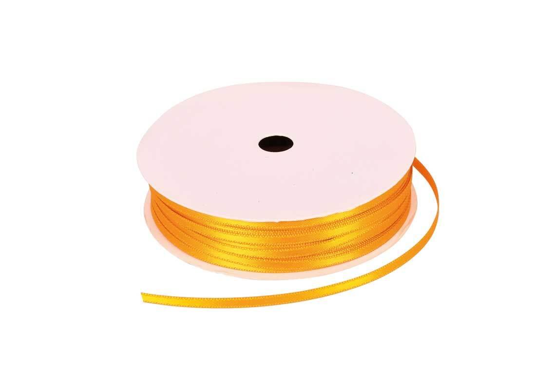 Satinband mit Webkante - 3 mm, honig