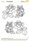 Kleurplaat kleurrijke rozen