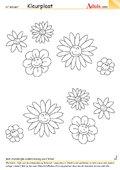 Kleurplaat bloemgezichten