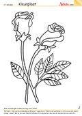 Kleurplaat boeket rozen